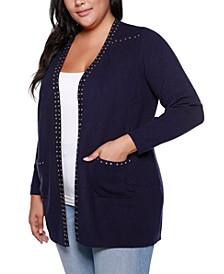 Black Label Plus Size Embellished Long Sleeve Pocketed Cardigan