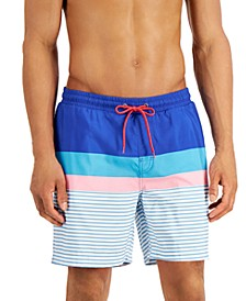 "Men's Sea Isle Block Print 7"" Board Shorts, Created for Macy's"