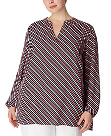 Plus Size Striped Split-Neck Top