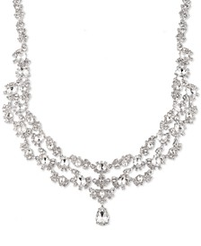"Silver-Tone Crystal Two-Row Collar Necklace, 16"" + 3"" extender"