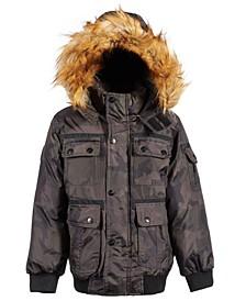 Little Boys Bomber Parka Jacket with Faux-Fur Trim