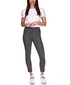 Checked Zip-Pocket Skinny Pants