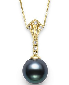 """Cultured Tahitian Pearl (9mm) & Diamond Accent 18"""" Pendant Necklace in 14k White Gold (Also available in 14k Gold)"""