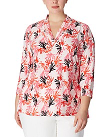 Plus Size Printed Pleat-Neck 3/4-Sleeve Top