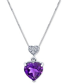 """Amethyst (1-3/4 ct. t.w.) & Diamond (1/20 ct. t.w.) Double Heart 18"""" Pendant Necklace in 14k White Gold"""