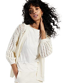 Modern Lounge Puff-Sleeve Open-Knit Cardigan, Created for Macy's
