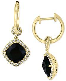 EFFY® Diamond (1/3 ct. t.w.) & Onyx (10mm) Drop Earrings In 14k Gold