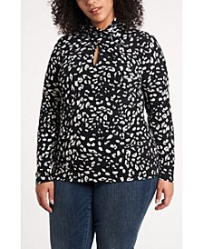 Women's Plus Size Animal Whisper Print Knit Top
