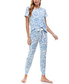 Luxe Short Sleeve Printed Loungewear Set