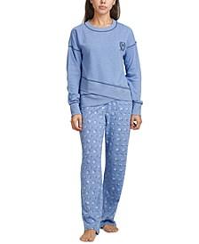 Crossover Hem Top & Logo-Print Pajama Pants