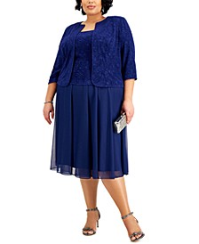 Plus Size Jacquard-Top Dress & Matching Jacket