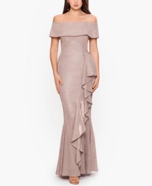 Off-The-Shoulder Shimmer Gown