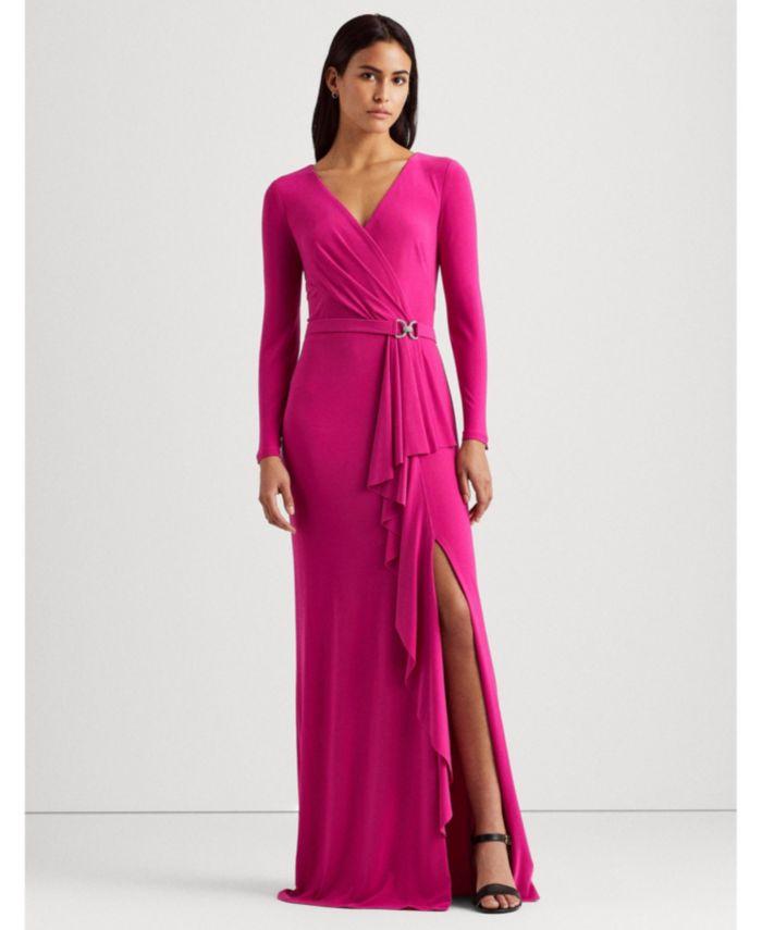 Lauren Ralph Lauren Ruffle-Trim Jersey Gown & Reviews - Dresses - Women - Macy's