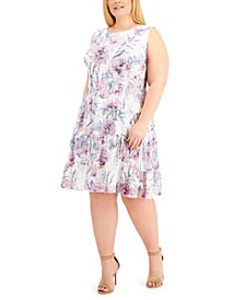 Plus Size Sleeveless Lace Tiered-Ruffle Fit & Flare Dress