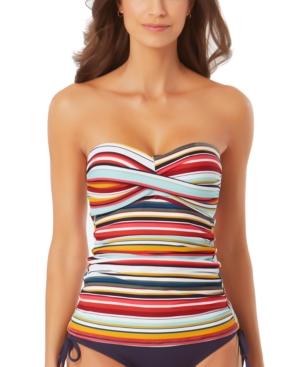 Boardwalk Stripe Twist-Front Bandeau Tankini Top Women's Swimsuit