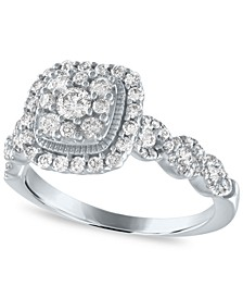 Diamond Halo Cluster Engagement Ring (3/4 ct. t.w.) in 14K White Gold