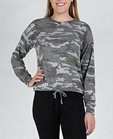 Women's Camouflage Cozy Long Sleeve Cinch Waist Top