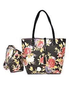 Women's Bag in Bag Tote with Peony Pebble Print