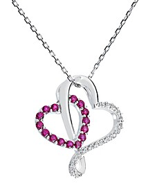 Women's Double-Heart Pendant Necklace in Sterling Silver