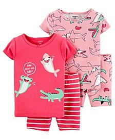 Toddler Girls Sharks Snug Fit Pajama Set
