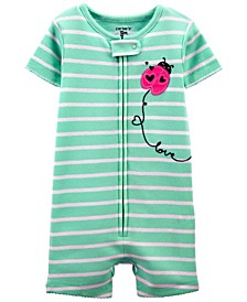 Toddler Girls Ladybug Snug Fit Romper Pajama Set