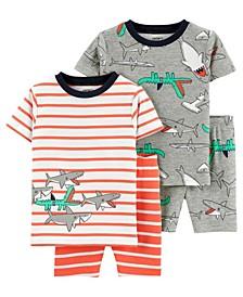 Toddler Boys 4 Piece Shark Snug Fit Pajama Set