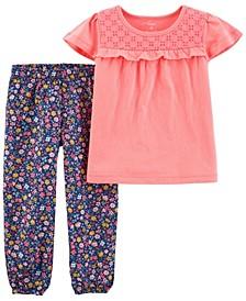 Toddler Girls 2 Piece Jersey Tee Pull-On Pant Set