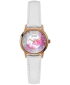 Women's White Leather Strap Watch 28mm