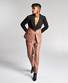 Zerina Akers for Faux-Leather Mixed-Media Jacket, Created for Macy's