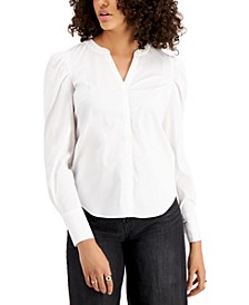 V-Neck Poplin Top, Created for Macy's