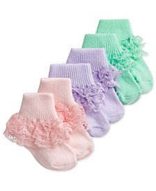 Baby Girls 3-Pack Garden Casual Lace Ankle Socks, Created for Macy's
