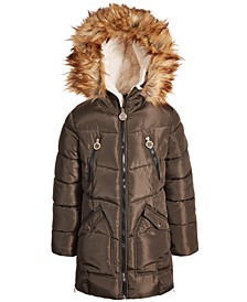 Big Girls Fashion Quilted Puffer with Faux-Fur Trim