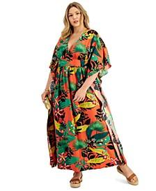 INC Plus Size Printed Dolman-Sleeve Kimono Dress, Created for Macy's