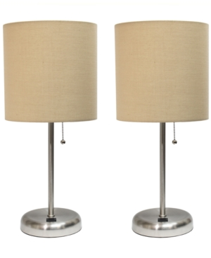 All The Rages Stick Lamp With Usb Charging Port And Fabric Shade 2 Pack Set In Neutrals