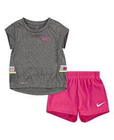 Toddler Girls 2 Piece Tape T-shirt and Shorts Set