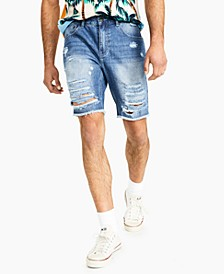 Men's Light Wash Ripped Denim Shorts, Created for Macy's
