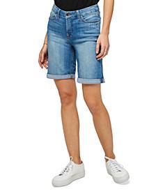 JEN7 Denim Bermuda Shorts With Rolled Cuffs