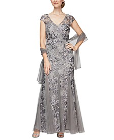 Embellished-Lace Embroidered Illusion Gown & Shawl