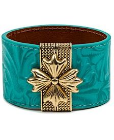 Gold-Tone Floret Magnetic Leather Cuff Bracelet