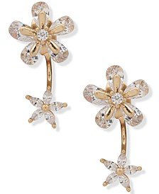 Gold-Tone Cubic Zirconia Flower Front-and-Back Earrings