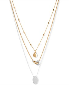 """Two-Tone Three-Row Pendant Necklace, 17"""" + 2"""" extender"""