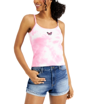 Juniors' Tie-Dyed Butterfly-Patch Top