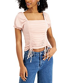 Juniors' Ruched Square-Neck Top