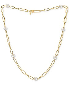 """EFFY® Cultured Freshwater Pearl (7mm) Large Paperclip Link 18"""" Statement Necklace in 18k Gold-Plated Sterling Silver"""