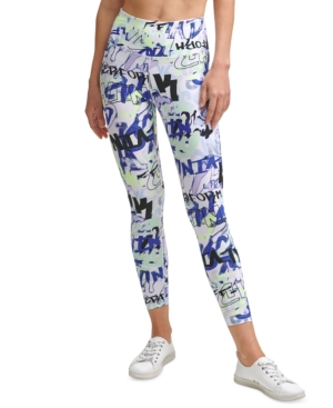 Calvin Klein Performance Printed High-waist 7/8 Length Leggings In City Tag Orchid