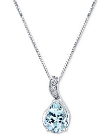 "Aquamarine (3/4 ct. t.w.) & Diamond Accent 18"" Pendant Necklace in 14k White Gold"