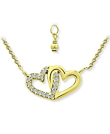 "Cubic Zirconia Intertwined Hearts 16"" Pendant Necklace, Created for Macy's"
