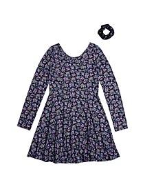 Big Girls Long Sleeve All Over Print Snit Dress