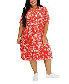 Women's Plus Size Clip Dot Shirt Dress
