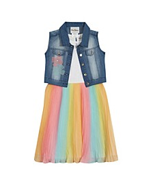 Big Girls Ombre Pleated Dress with Denim Vest